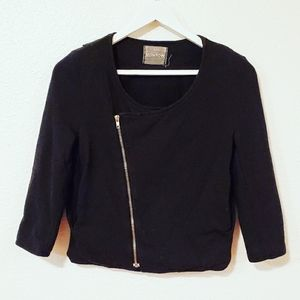 Monrow Angled Zip Up Cropped Jacket